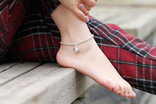 New! Solid 925 Sterling Silver Ball Chain Large Bell Anklet