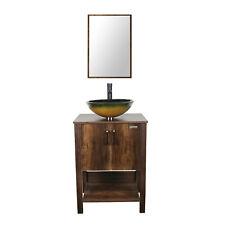 """24"""" Bathroom Vanity Cabinet W/ Mirror Glass Vessel Sink Faucet Set Combo Brown"""