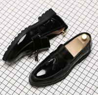 Men's business Brogue patent  leather slip on oxford Dress formal loafers shoes