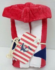 "Pottery Barn Kids Shark Stripe Kid Beach Hooded Towel 30x 50"" Red White #9815"