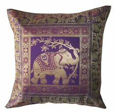 "16"" Silk Cushion Cover Indian Brocade Zari Embroidery Throw Pillow Ethnic Decor"