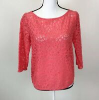 Ann Taylor Loft Coral Pink 3/4 Sleeve Lace Blouse Size Small