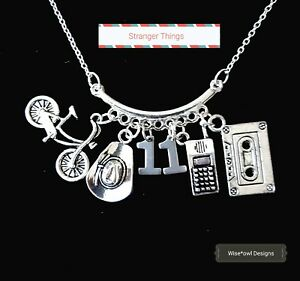 STRANGER THINGS CHARM NECLACE. STERLING SILVER CHAIN OPTION. GIFT BOX OR POUCH