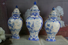 Set of 3 Delft blue white pottery vases lidded Landscape scene marked