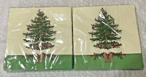 """32 ct  Spode Christmas Tree Holly Border 3 ply Paper Lunch Napkins 6.5"""" Square"""
