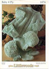 "Littlewoods 1076 Vintage Baby Knitting Pattern 4 ply Pram Set 16-20"" 0-18 months"