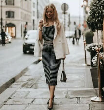 Zara Polka Dot Camisole Slip Dress Strappy Black White AW19 Xs S M BNWT