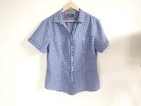 Kathmandu Ladies Shirt Size 18 Blue White Check Gingham Button Up Short Sleeve