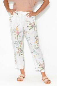 White Floral Lightweight Linen Pants Elasticised Waistband NWT sizes 8-18