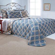 Stylemaster Renaissance Home Fashion Blue Belmont Reversible Bedspread Sz Twin