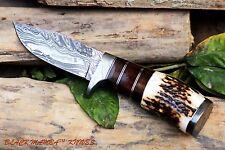 "BMK-101 Knife 8.5″ Long 4″Blade "" 7oz Hunting Fixed Blade Damascus Knife Black"