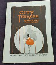 1928 Program City Theatre BROCKTON Players Broadway Lots Local Advertising