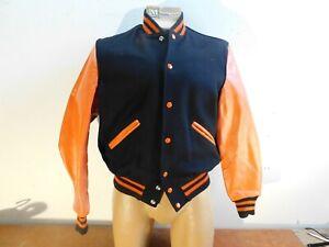 Vintage Delong Varsity Letterman's Jacket Black Orange NOS