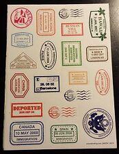 Sheet of 20 Passport Stamp Stickers - Great for Scrapbooking! (BIN)