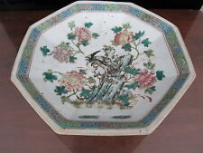 Antique Chinese Hexagon Famille Rose Flower and Bird Plate