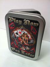 Play Poker, Motorcycle, Pin up Girl Cigarette Tobacco Storage 2oz Hinged Tin