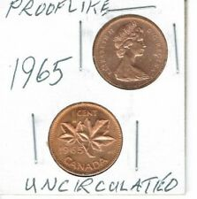 1965 Canadian Uncirculated  & Proof Like One Cent 2 Coins!