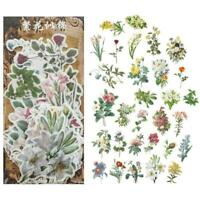 60X Vintage Flowers Plant Stickers Stationery DIY Scrapbooking Stickers Dec B3V4