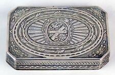 1880 Engraved Parcel Gilt Silver Patch Snuff Box Cannon Eagle German Kurz Hanau