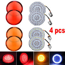 1157 LED Turn Signals Light Inserts Smoke Lens Fit for Harley Amber&White Bulbs