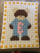 Handmade Crochet Baby Blanket Bear White, Brown, Blue, Pink, Yellow
