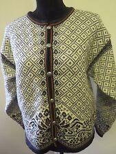 Traditional Vintage DALE Icelandic Nordic Patterned Cardigan Size L UK 14