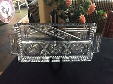 Crystal Divided Relish Serving Tray Dish Appetizer Vegetable Buffet  Dessert