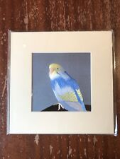 China Embroidery Art Inc Handmade Silk Royal Bird Yellow Blue Matted Painting