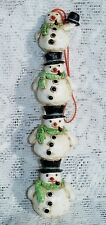 WHIMSICAL CHRISTMAS STACKED SNOWMEN RESIN COUNTRY CHRISTMAS ORNAMENT