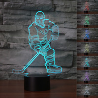LED Night Light 7 Changeable Colors 3D HOCKEY 3D illusion Desk Lamp XMAS Gift