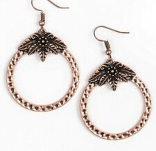 Paparazzi Earrings ~ Islander Insider ~ Floral Hammered Copper Hoops /Dragonfly?