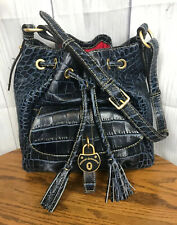 VTG Dooney & Bourke City Drawstring Leather Shoulder Bag in Denim Blue ShipsFree