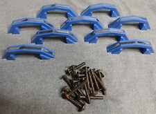 9 Small Vintage Blue Chrome Cabinet Door Drawer Pulls Old Hardware NOS Screws 2