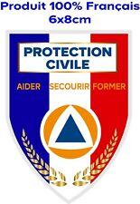 Autocollant protection civile bleu, blanc, rouge, écusson pare-brise voiture