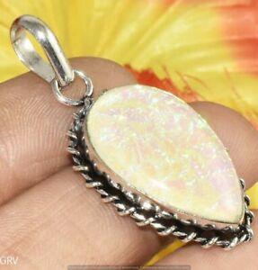 Yellow Pink Australian Triplet Opal Gemstone Pendant 925 Silver Plated U370-B111