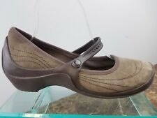 4476e08e5f86b5 Crocs Brown Suede Mary Jane Strap Flats Slip On Casual Walking Shoes Womens  10