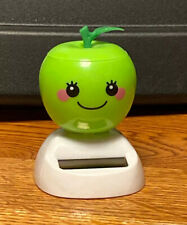 Solar Powered Dancing Toy Bobblehead New - GREEN APPLE  - Blue Base
