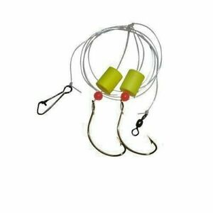 8 SURF FISHING PIER 2/0 HOOK RIGS: POMPANO WHITING DRUMS SNAPPER FLOUNDER 50lb