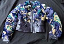 BETSEY JOHNSON JACKET COAT Women's Size 2 Leather Faux Fur Cropped Purple Black