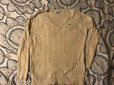Vintage LACOSTE SIZE 46 CABLE KNIT SWEATER V- NECK JUMPER. White/cream