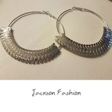 LARGE Glamorous Silver Tone Metal Shingle Textured Hoop EARRINGS  3 x 3 1/2 inch