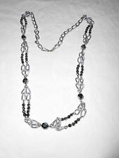 Silver tone link with black Aurora Borealis beads necklace
