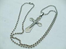 Collana Ciondolo Croce Acciaio Unisex Uomo Donna Crocifisso