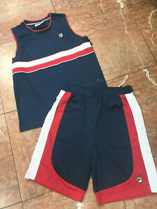 Men's Fila Navy | Red | White Mesh Short Set