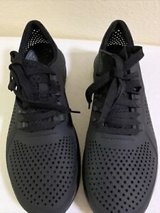 Crocs Literide Pacer Walking Lace Up Shoes 204967 All Black Men Size M 10 Casual