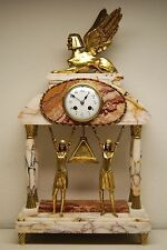 ANTIQUE EGYPTIAN REVIVAL FRENCH MARBLE SPHINX  MANTEL ART DECO NOUVEAU OLD CLOCK
