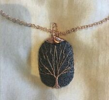 lava rock tree of life pendant jewelry  diffusing necklace brass chain black