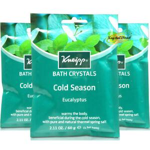 3x Kneipp Cold Season Eucalyptus Mineral Bath Crystal Salt 60g Sinus Relief