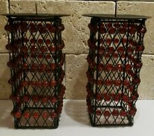 LOT OF 2 METAL CANDLE HOLDER w/RED BEADS HEIGHT 5""