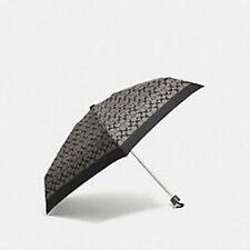 NWT Coach Black & Grey Signature C Pattern Mini Umbrella w/Cover F63365-SLBLK